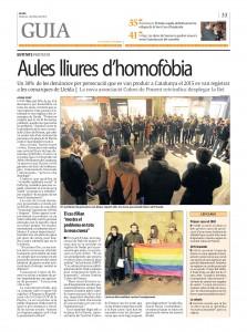 La concentració contra el bullying per LTGBIfòbia a la premsa del dia