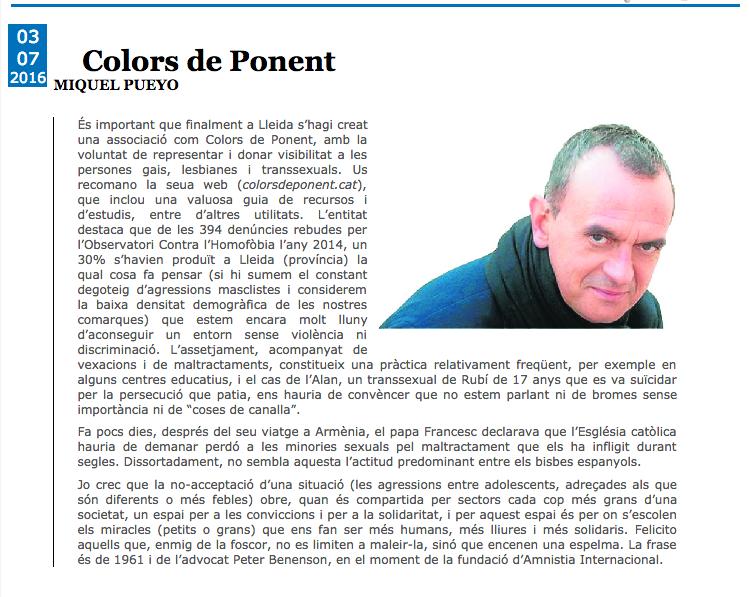 Columna de Miquel Pueyo sobre Colors de Ponent