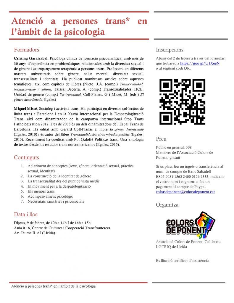 Formació de Cristina Garaizabal sobre atenció a les persones trans* en psicologia