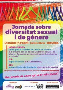 7 d'abril, Jornada sobre diversitat sexual i de gènere a Cervera